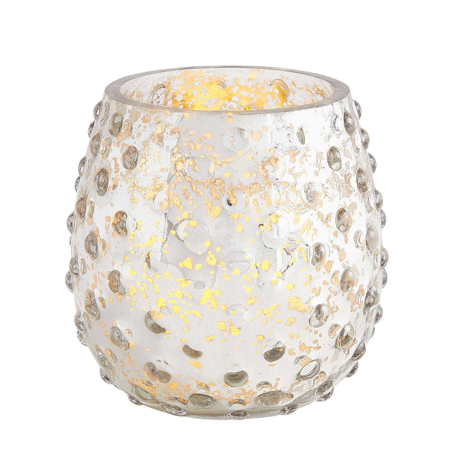 Silver Mercury Glass Knobbed Tealight Candle Holder
