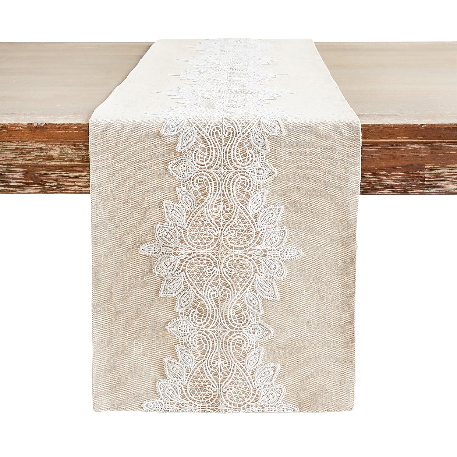 "72"" Embroidered Lace Table Runner"