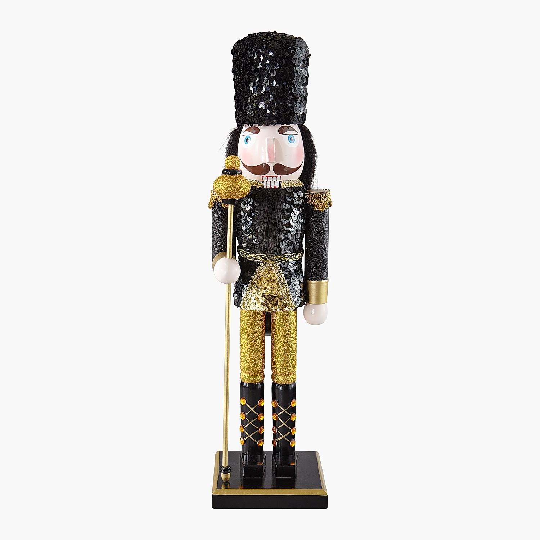 "17.5"" Black & Gold Sequined Nutcracker"