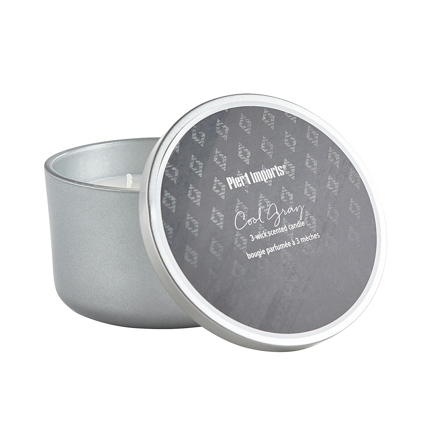 Cool Gray Filled 3-Wick Candle
