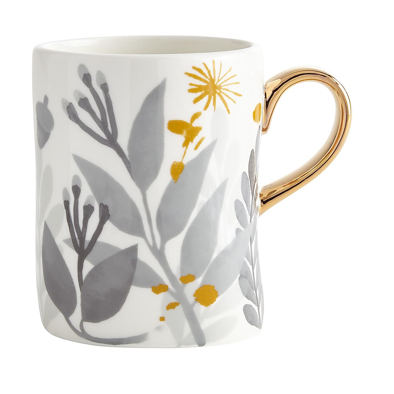 Watercolor Leaves Gray & Yellow Mug