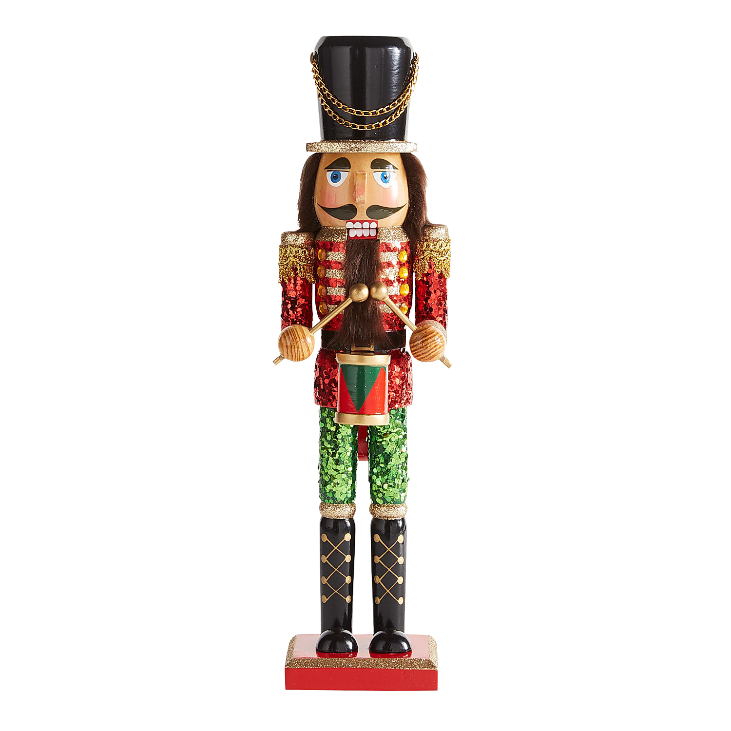 """15"""" Red Glittered Nutcracker with Drum"""