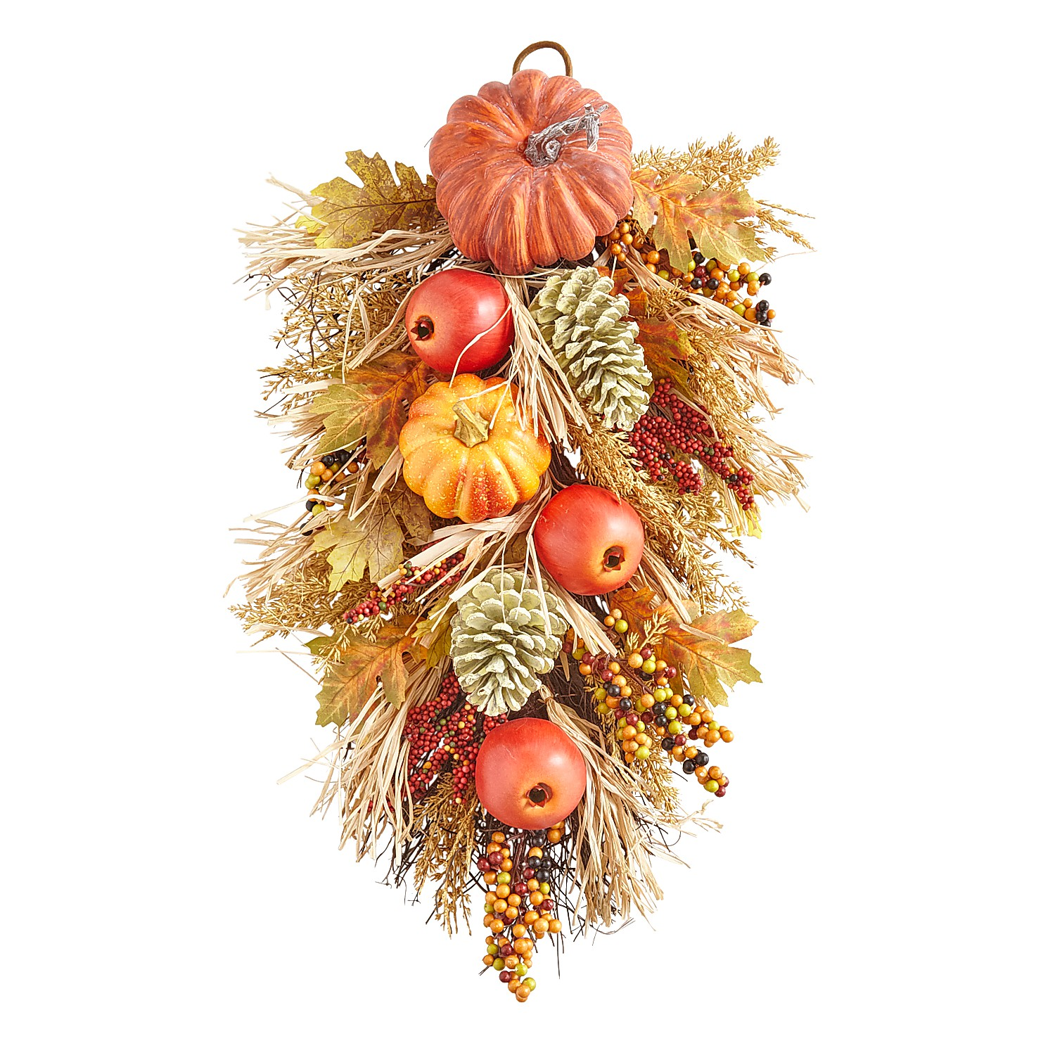 "26"" Faux Pumpkin & Pine Spray Door Hanger"