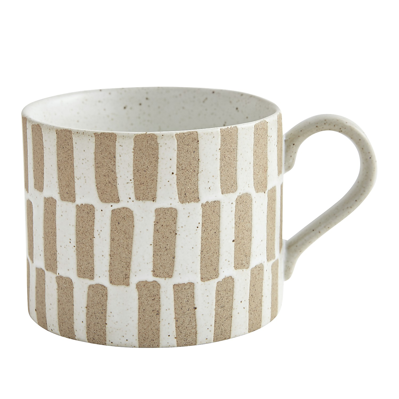 Checkerboard Beige Clay Mug