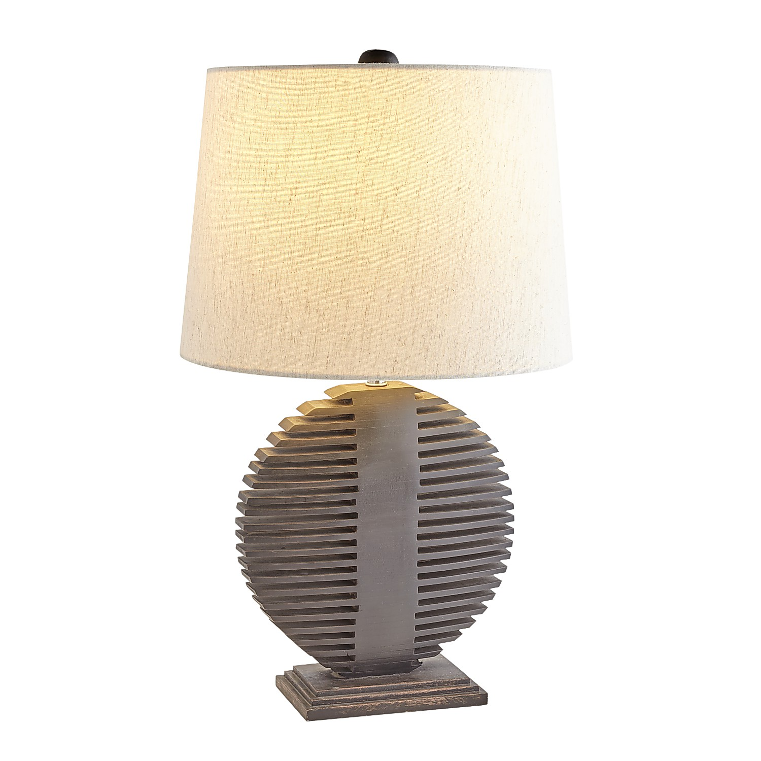Oval Dark Wood Table Lamp