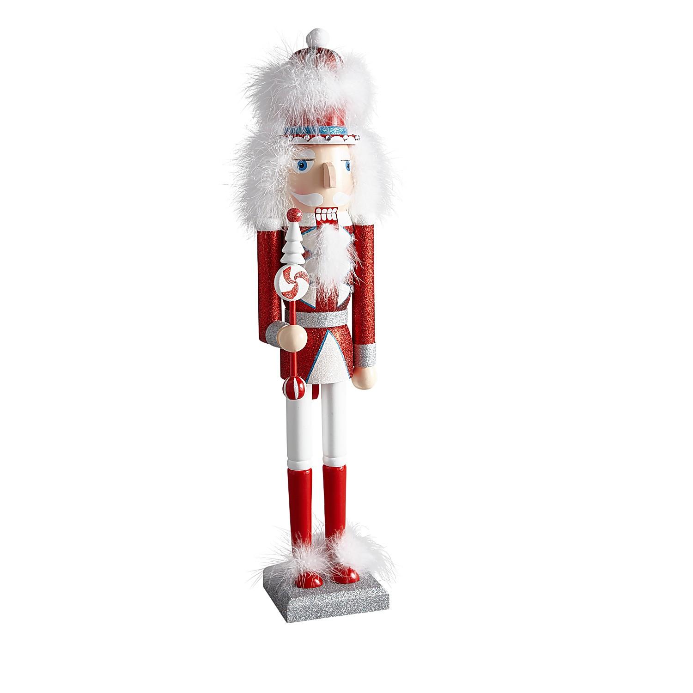 """24.5"""" Red & White Glittered Whimsical Nutcracker"""