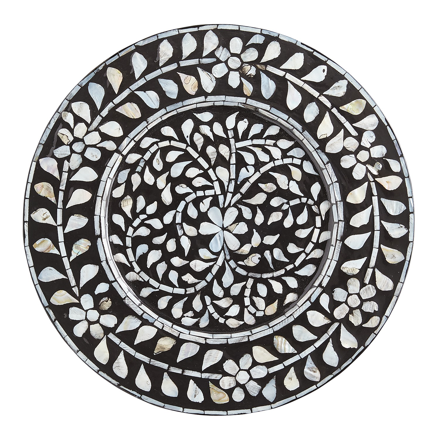 Black Mother-Of-Pearl Charger Plate