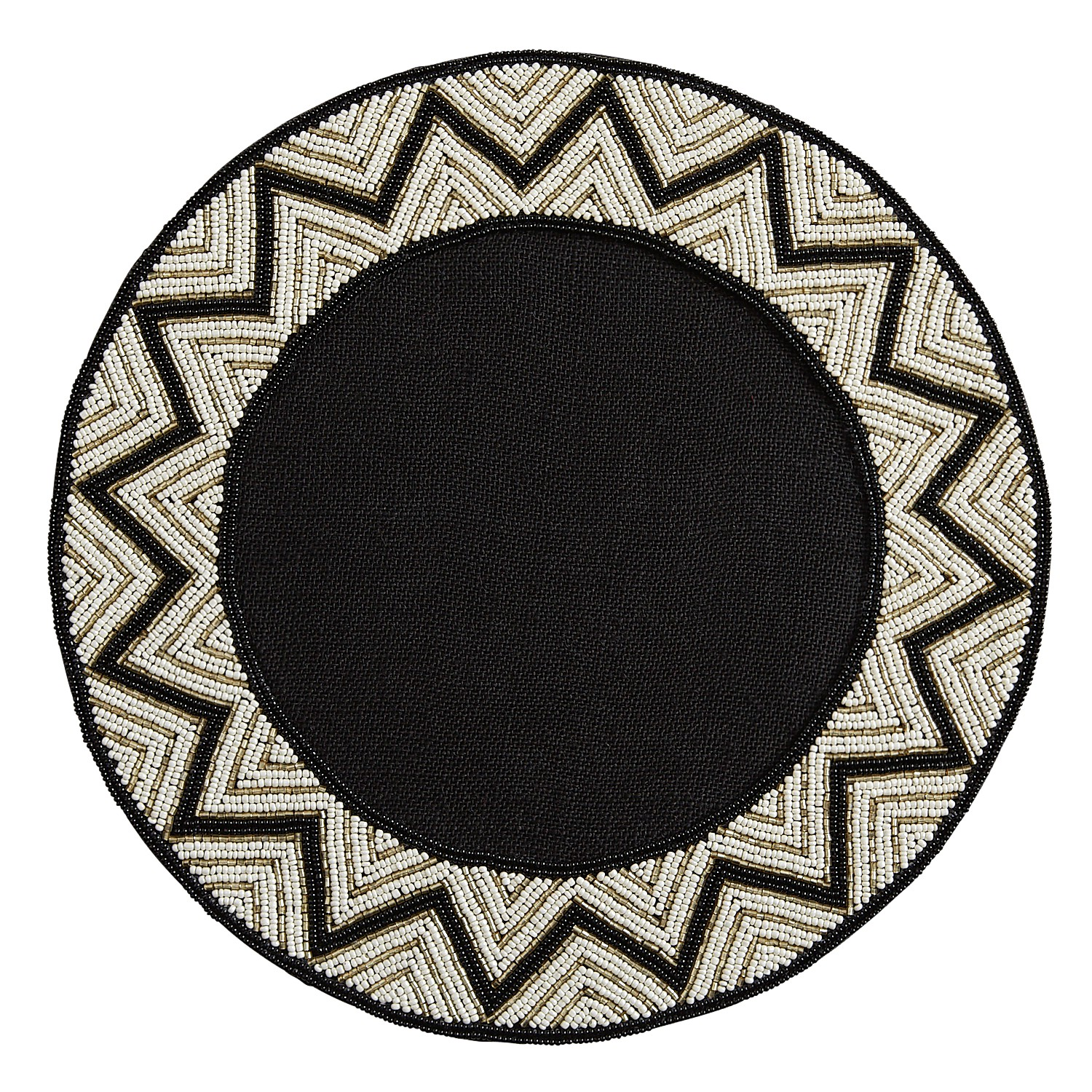 Beaded Black & White Placemat