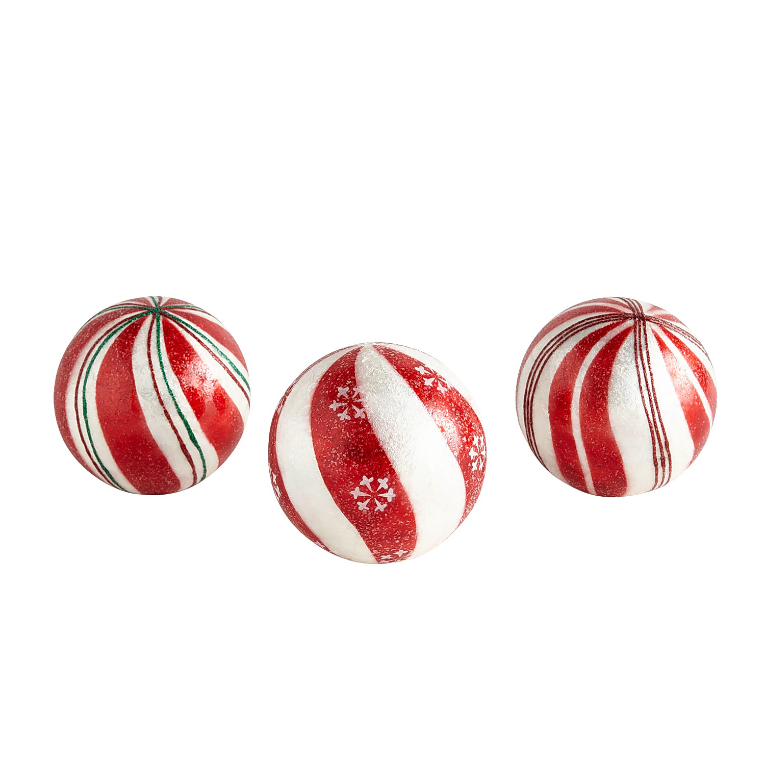 Peppermint Decorative Sphere Set of 3