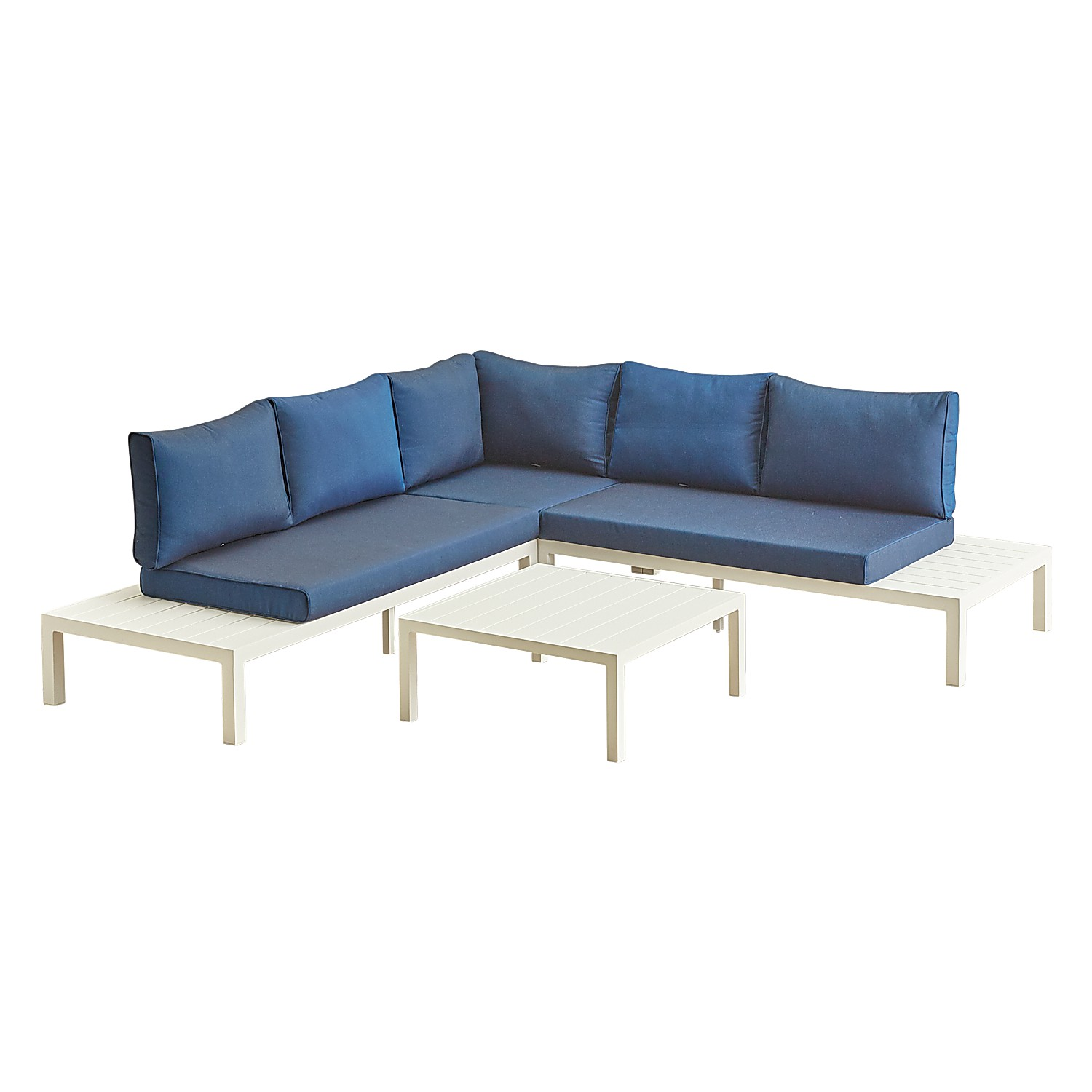 White Aluminum Sectional with Navy Cushions