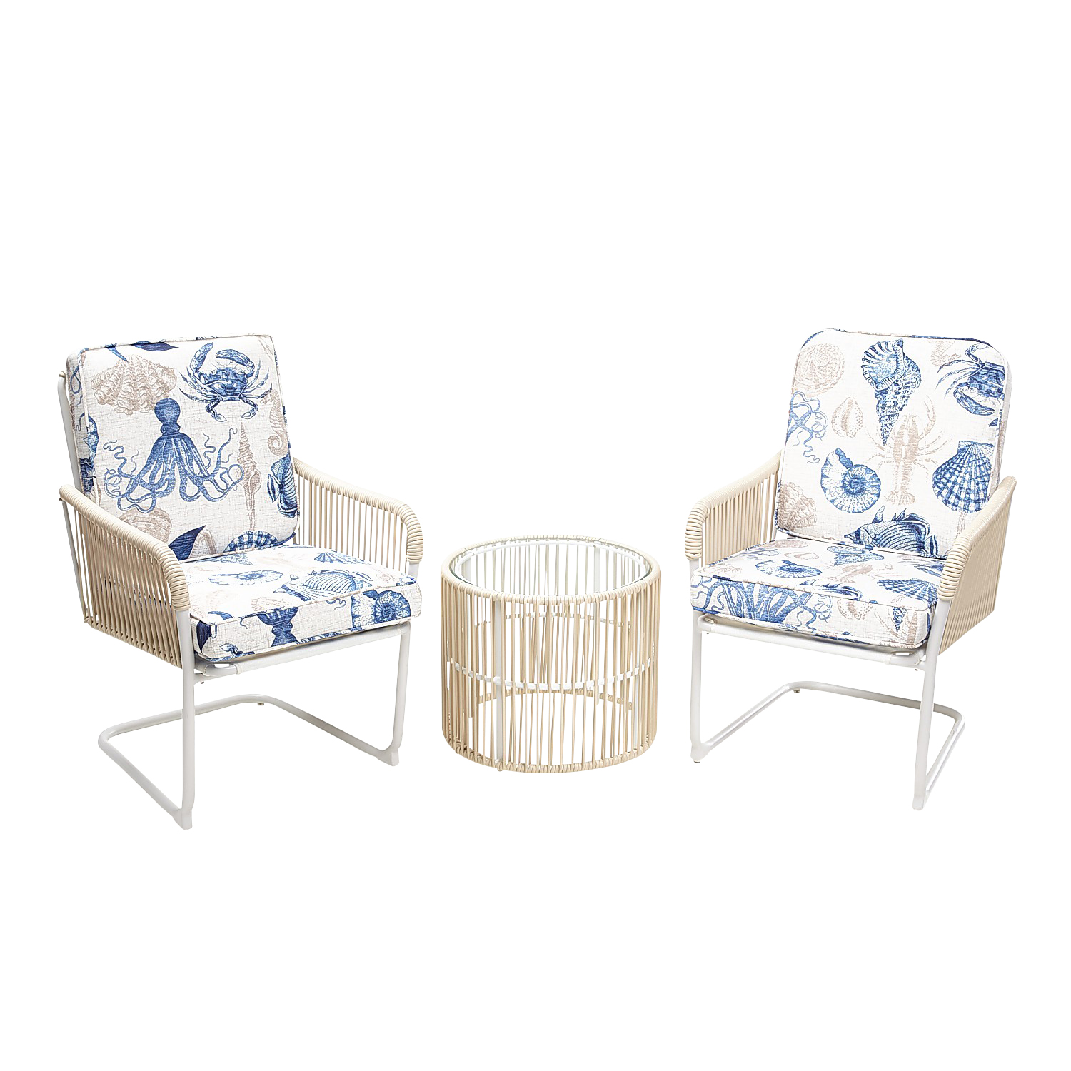 3-Piece Chat Set with Printed Cushions