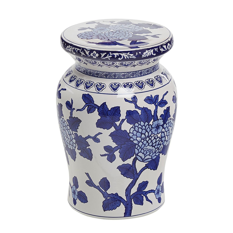 Blue & White Floral Garden Stool