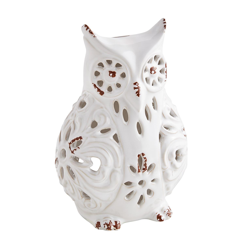 White Ceramic Owl Tealight Candle Holder