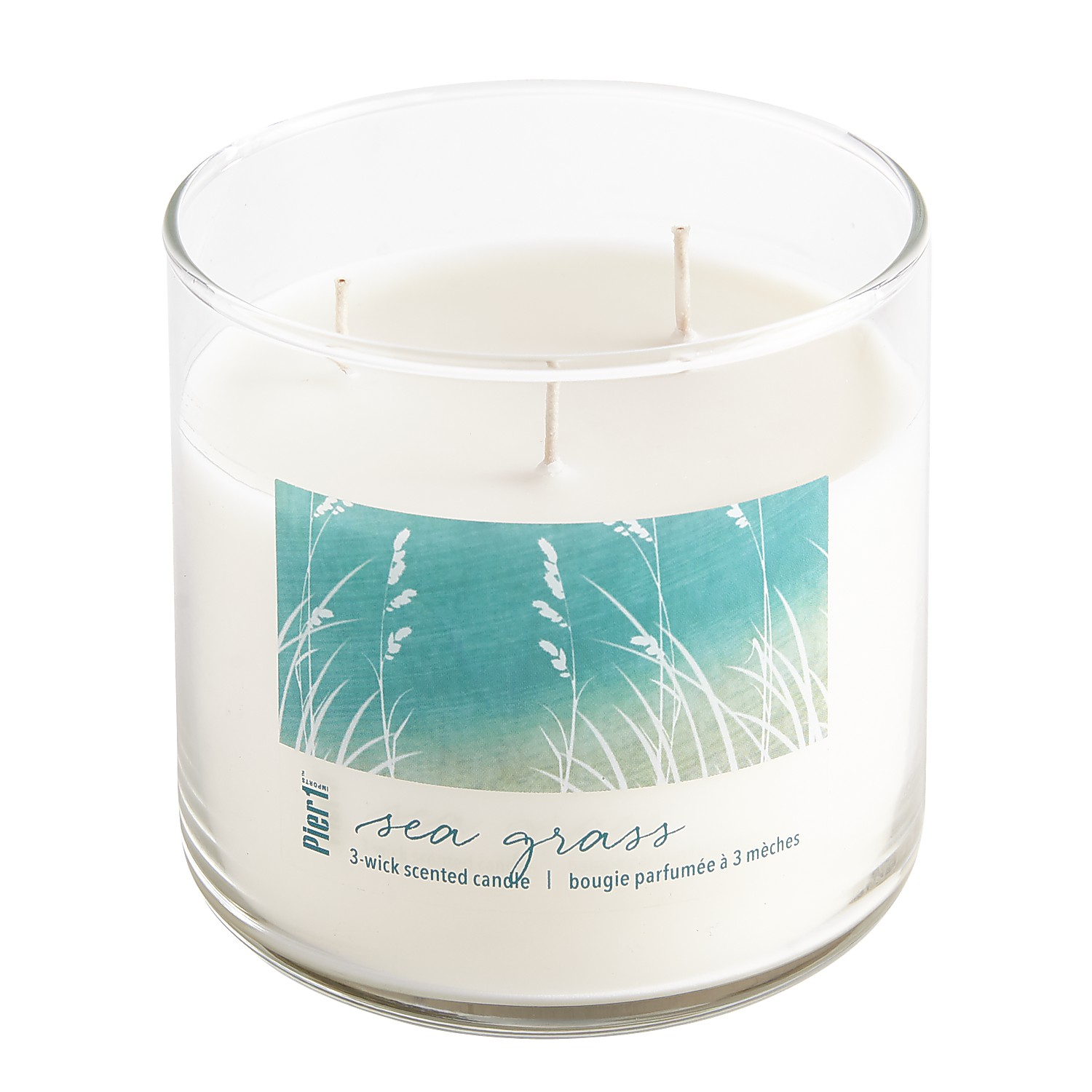 Sea Grass Clear Filled 3-Wick Candle