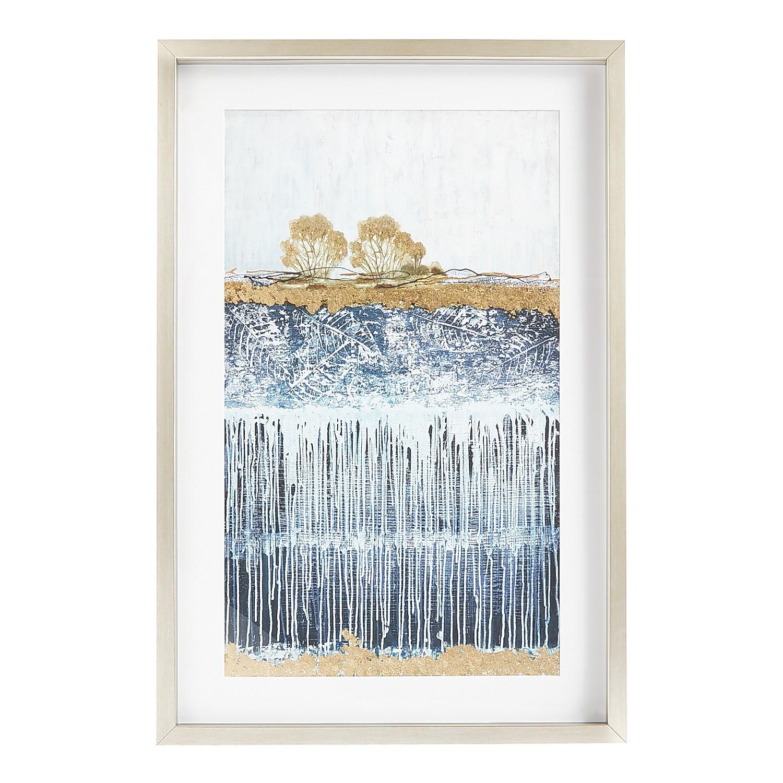 Dripping Ground Blue & Gold Framed Art
