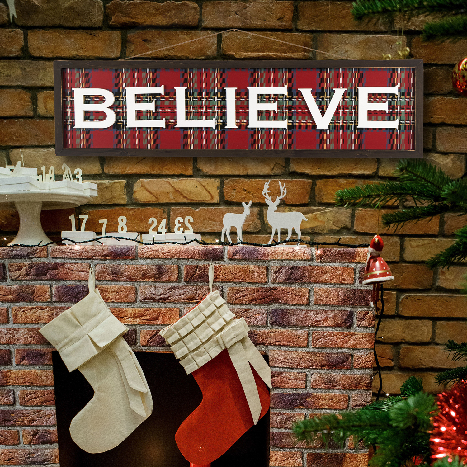 Believe Red Plaid Christmas Wall Decor