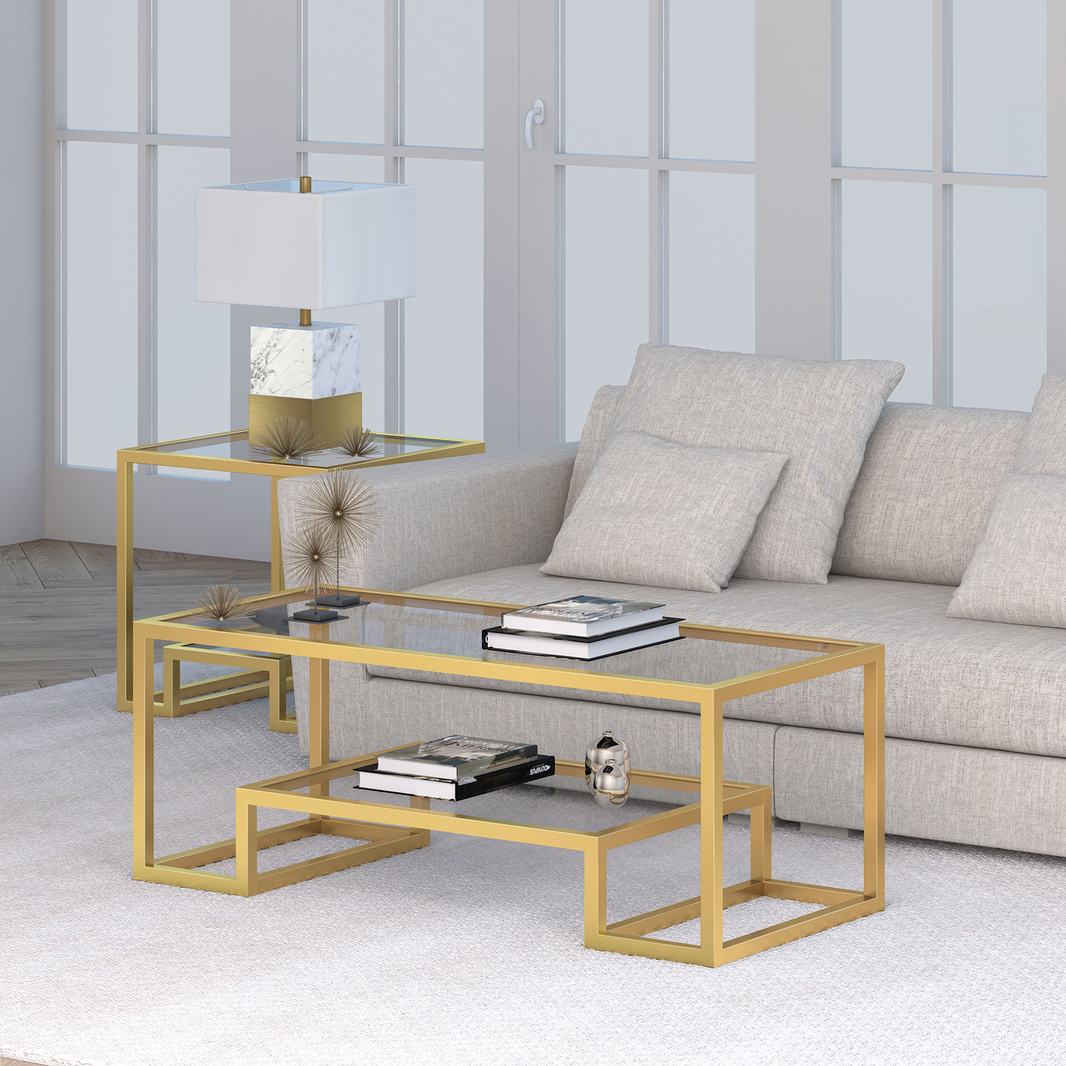 Accacia Gold Glass Top Coffee Table