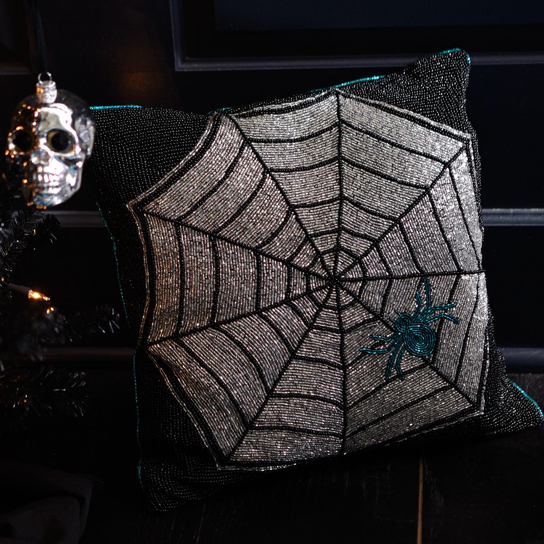 Beaded Spider Web Pilllow