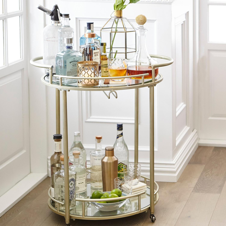 Champagne Round Bar Cart