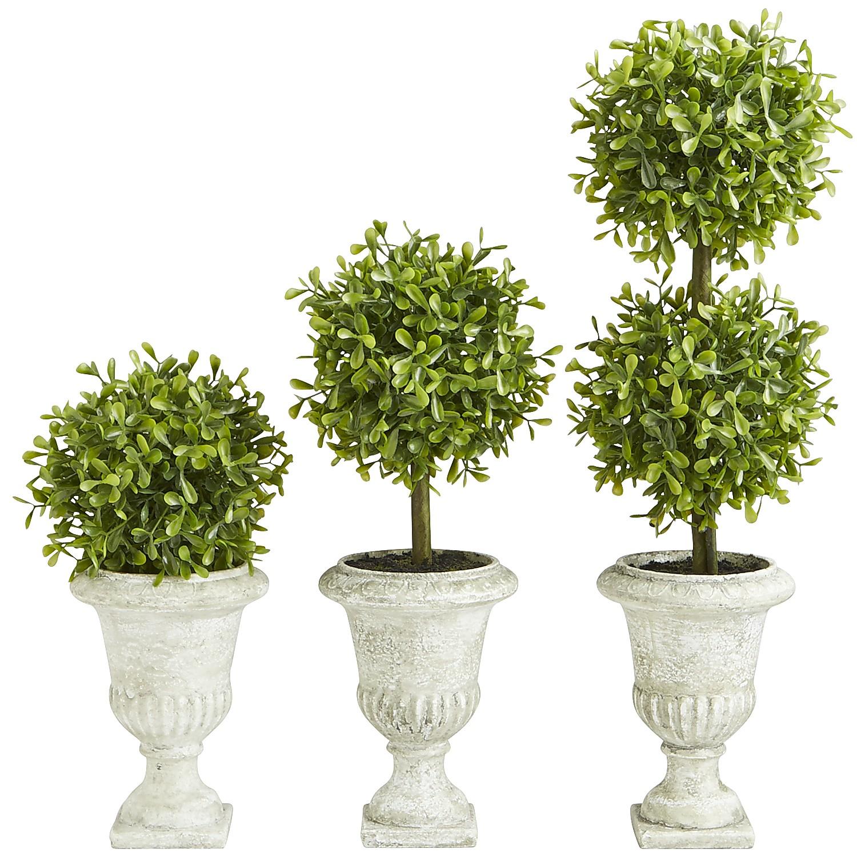 Mini Faux Boxwood Topiary Set