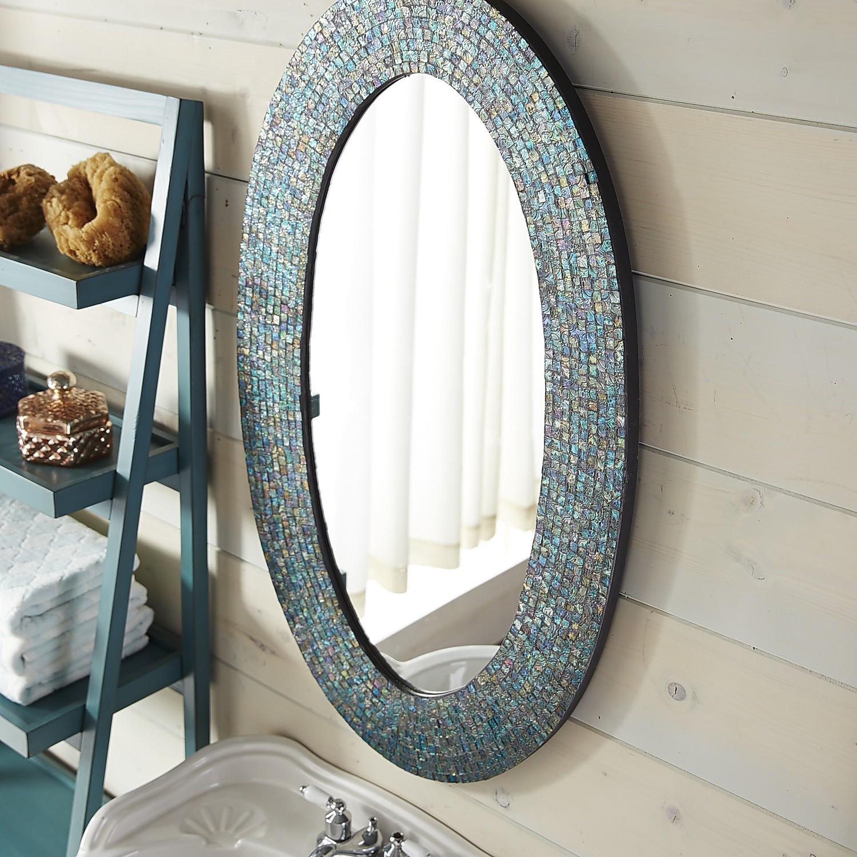 Azure Mosaic Oval 24x40 Mirror