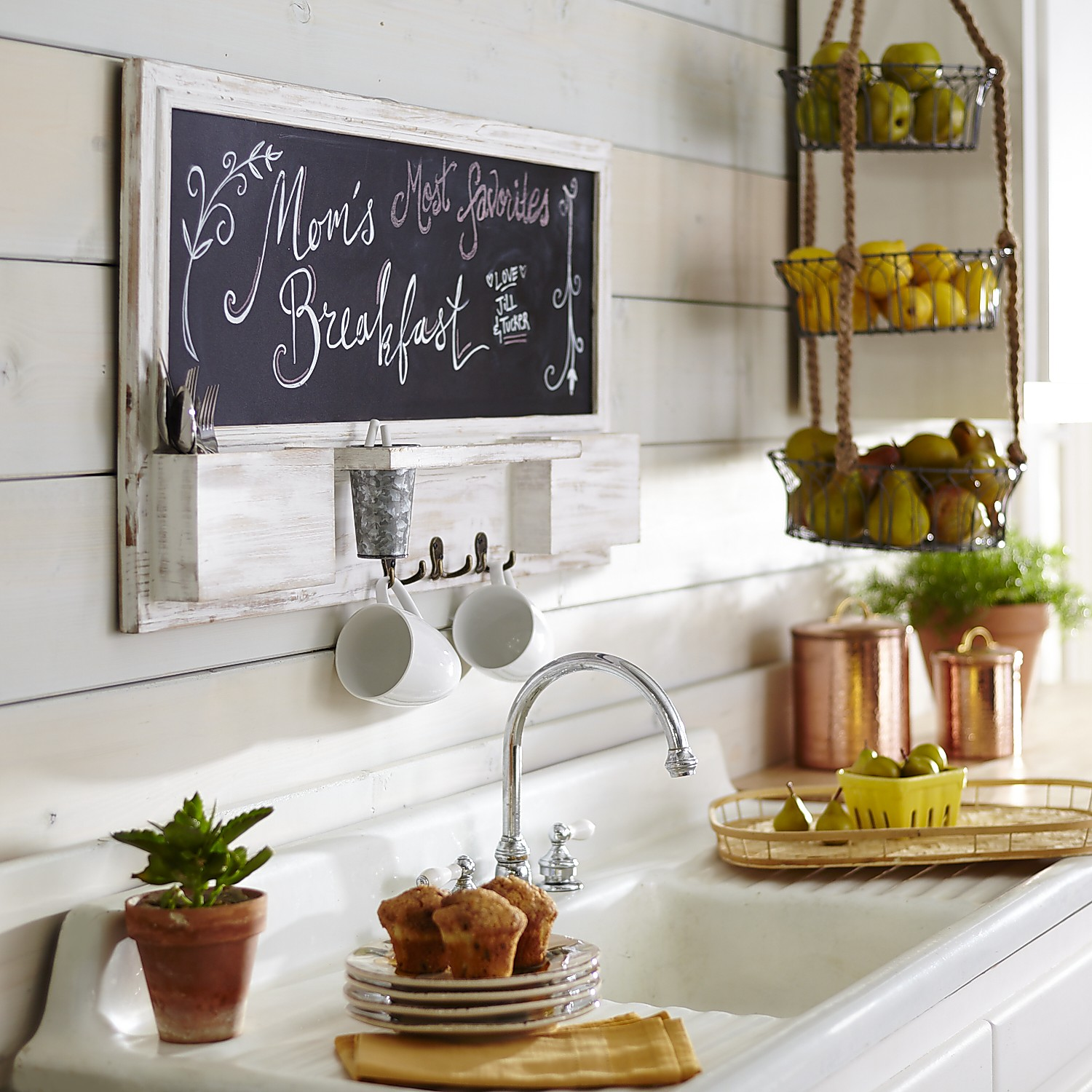 variation thumbnail of Whitewashed Chalkboard Wall Organizer with Hooks