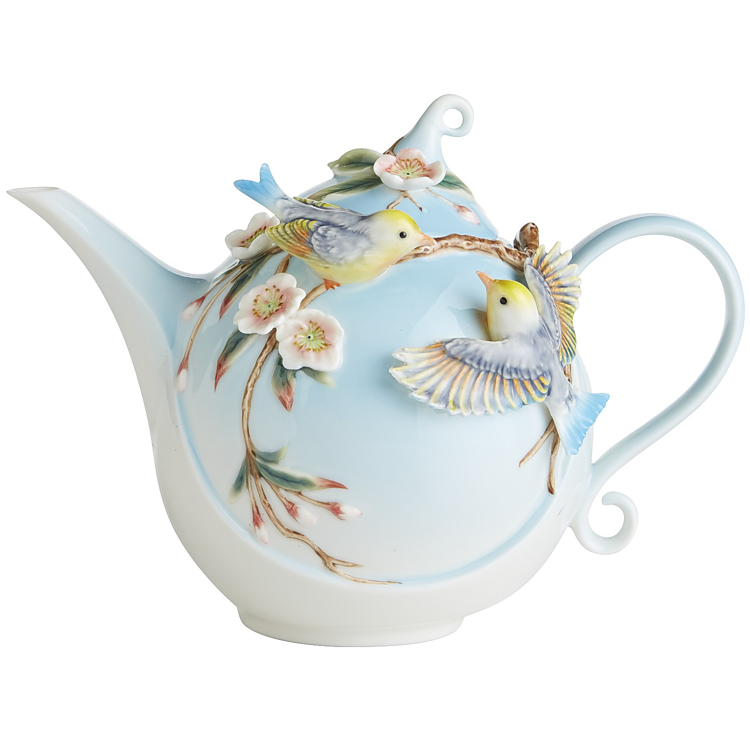 Porcelain Hand-Painted Bird Sanctuary Teapot
