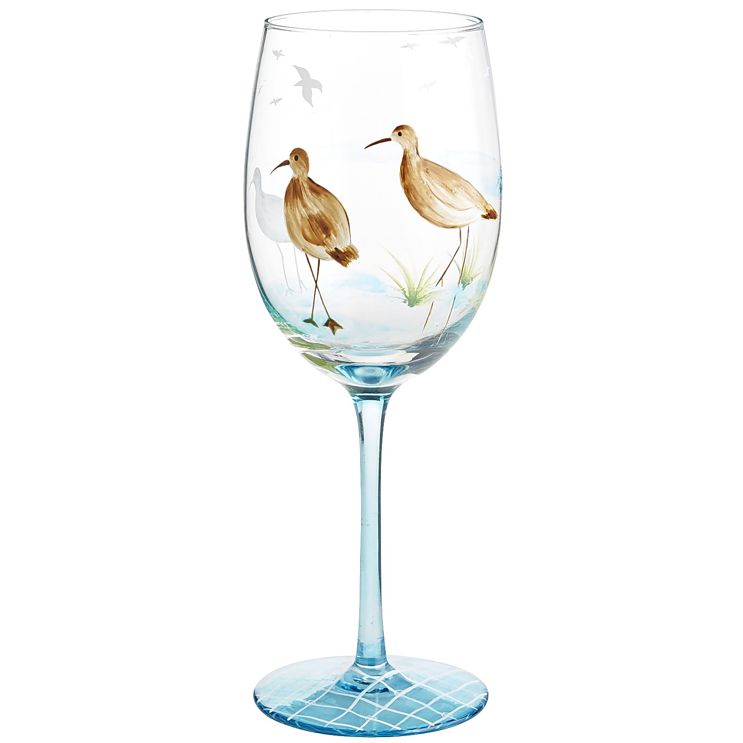 Sandpiper Painted Wine Glass