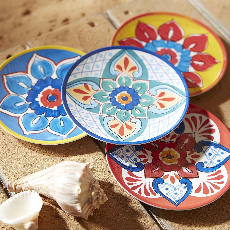 Baja Brights Melamine Appetizer Plate Set