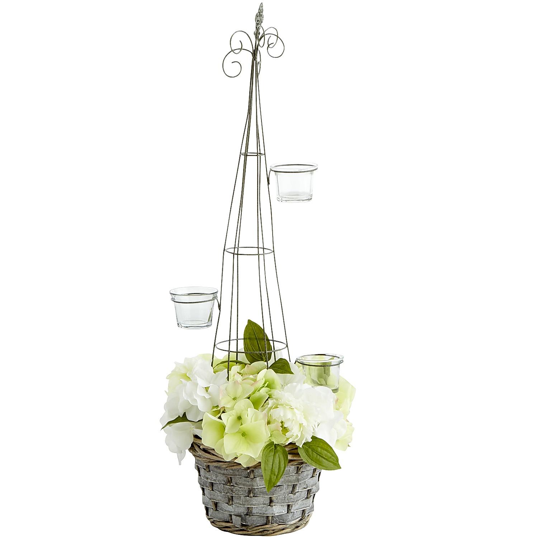 Faux Hydrangea Basket Tealight Holder - Medium