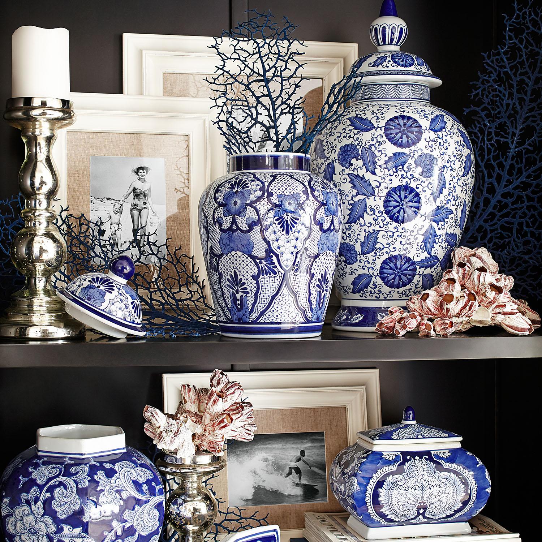 Small Temple Jar - Blue & White