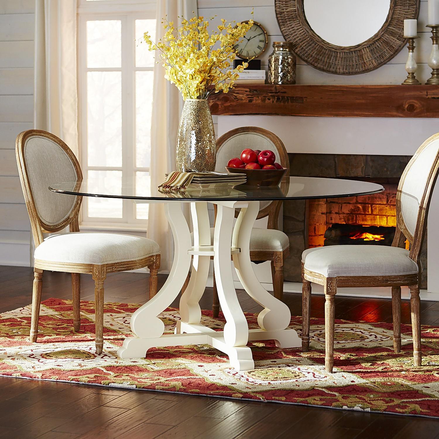 Marchella Antique White Round Dining Table Base