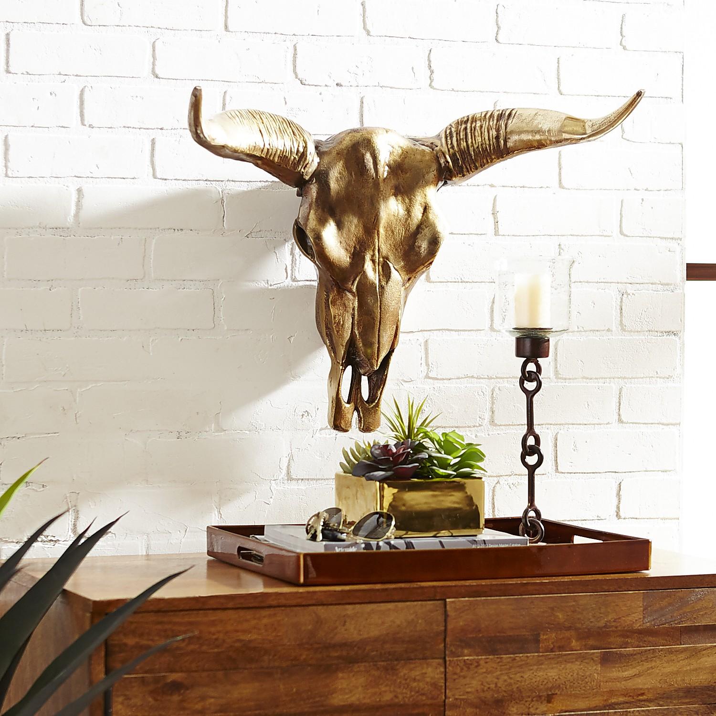 Gold Cow Skull Wall Decor