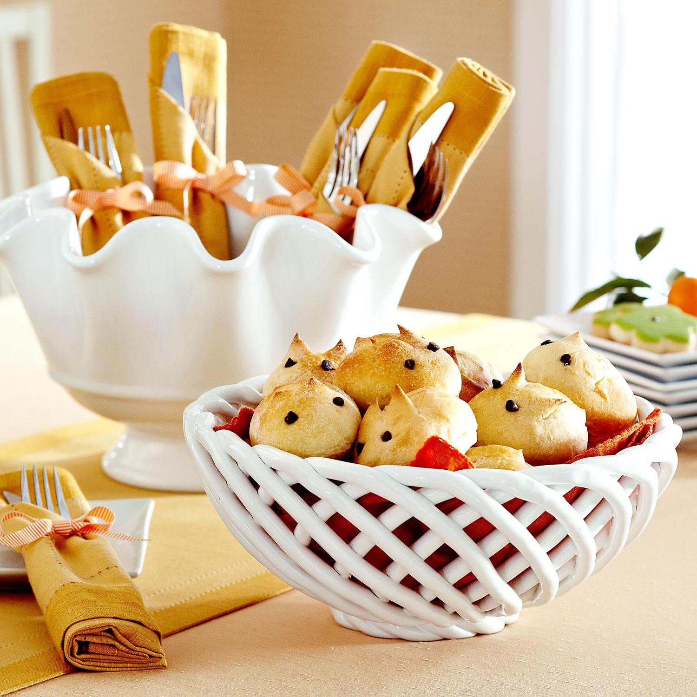 White Ceramic Serving Basket