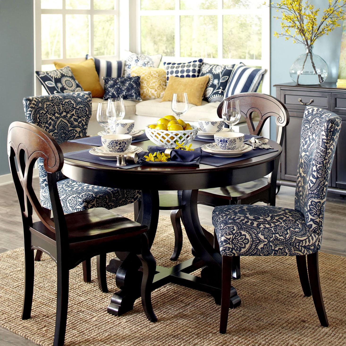 Carmilla Blue Damask Dining Chair with Espresso Wood ...