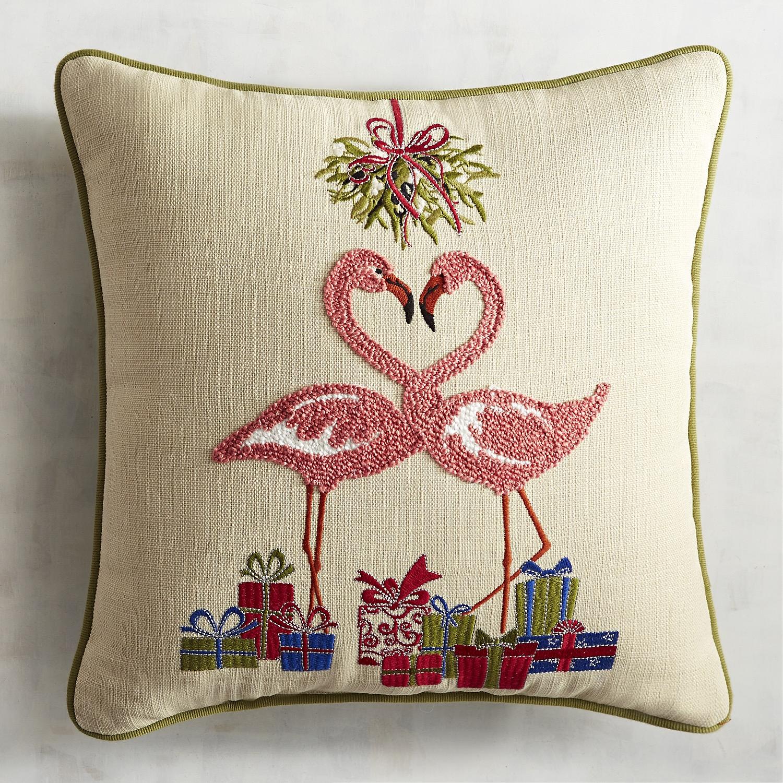 Embroidered Flamingo Mistletoe Pillow