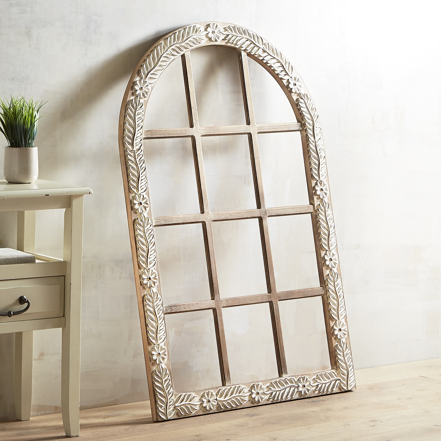 Carved Floral Arch Wall Decor