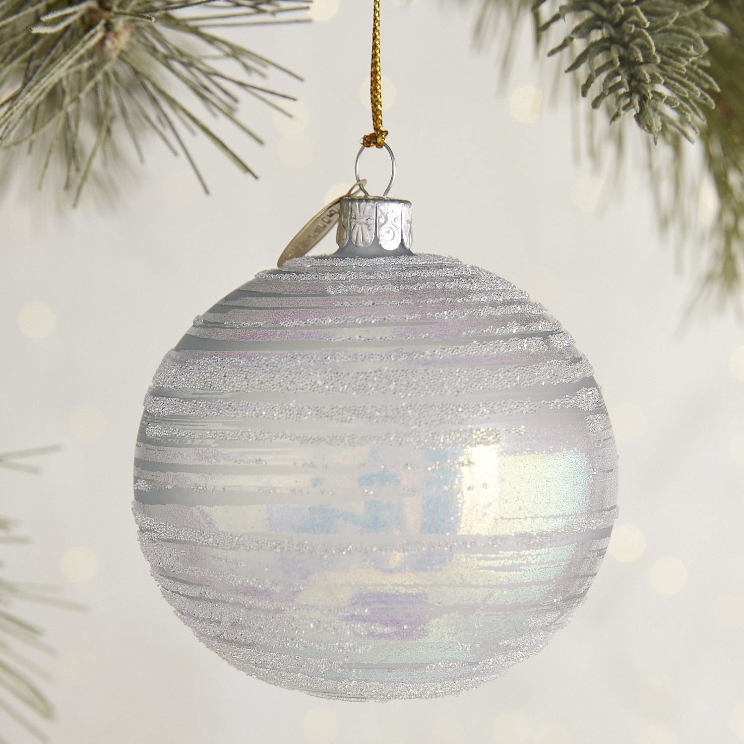 European Glass Striped Iridescent Ornament