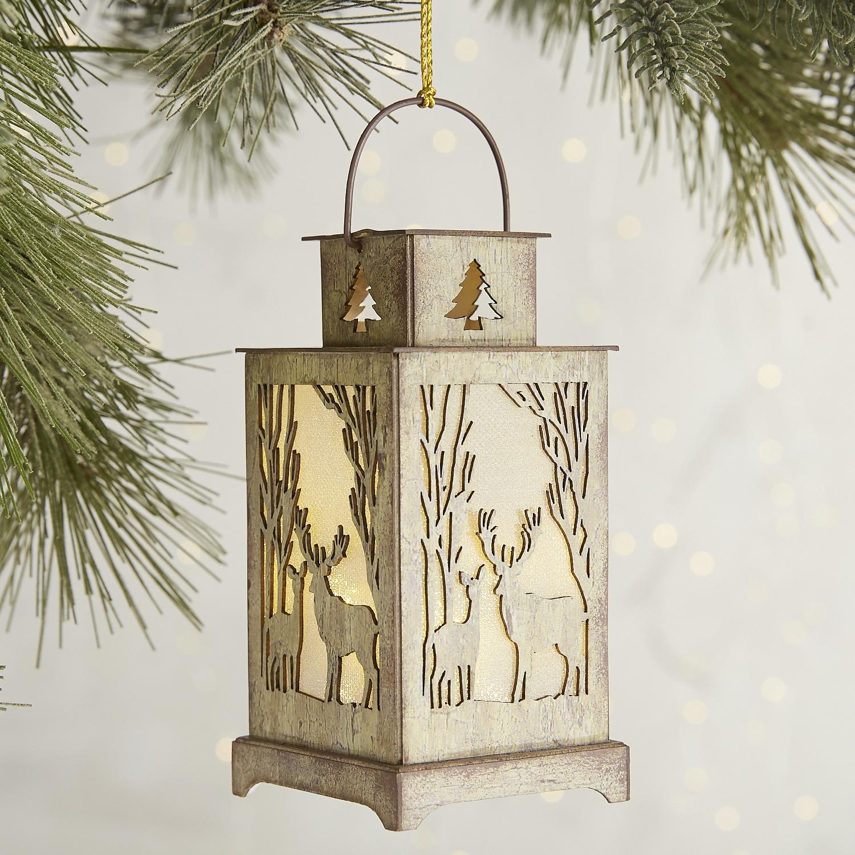 Birch Deer LED Lantern Ornament