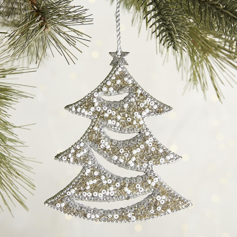 Beaded Cutout Tree Ornament