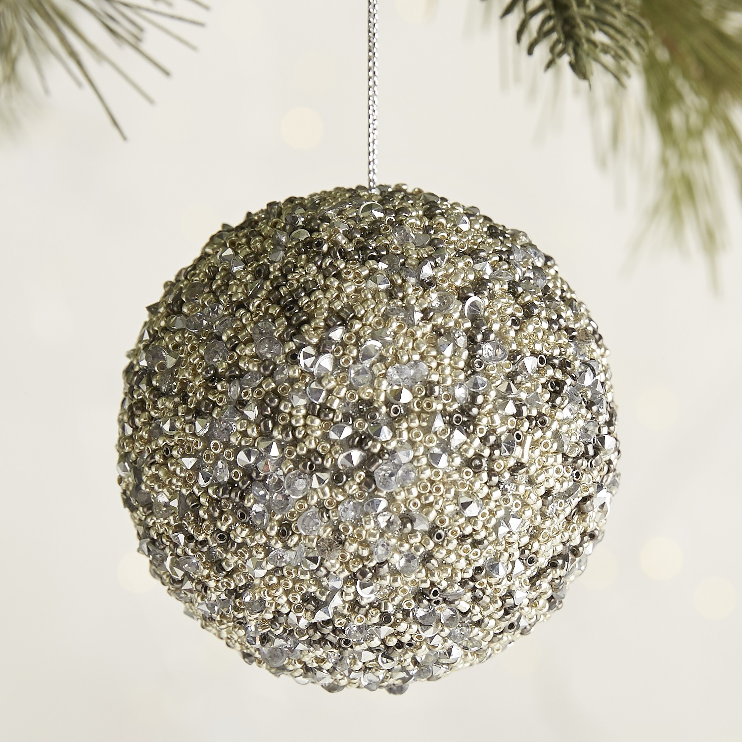 Silver Beaded Ball Ornament