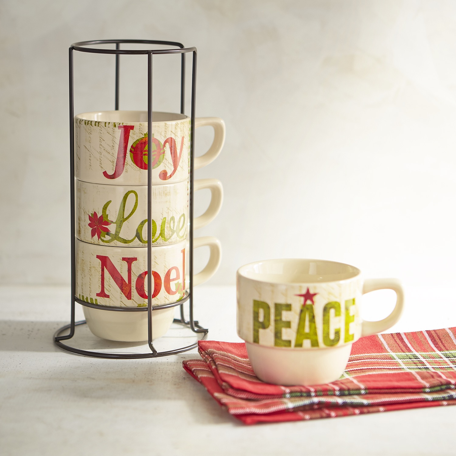 Glad Tidings Stacking Mugs Set