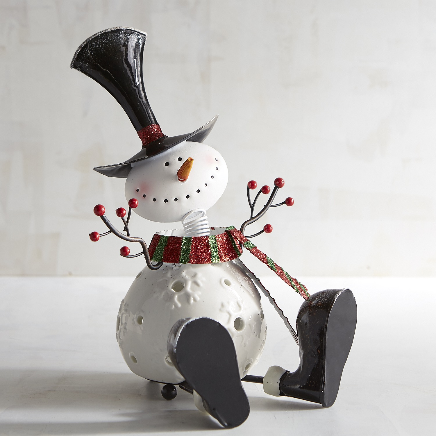 Small Bobblehead Snowman Tealight Candle Holder