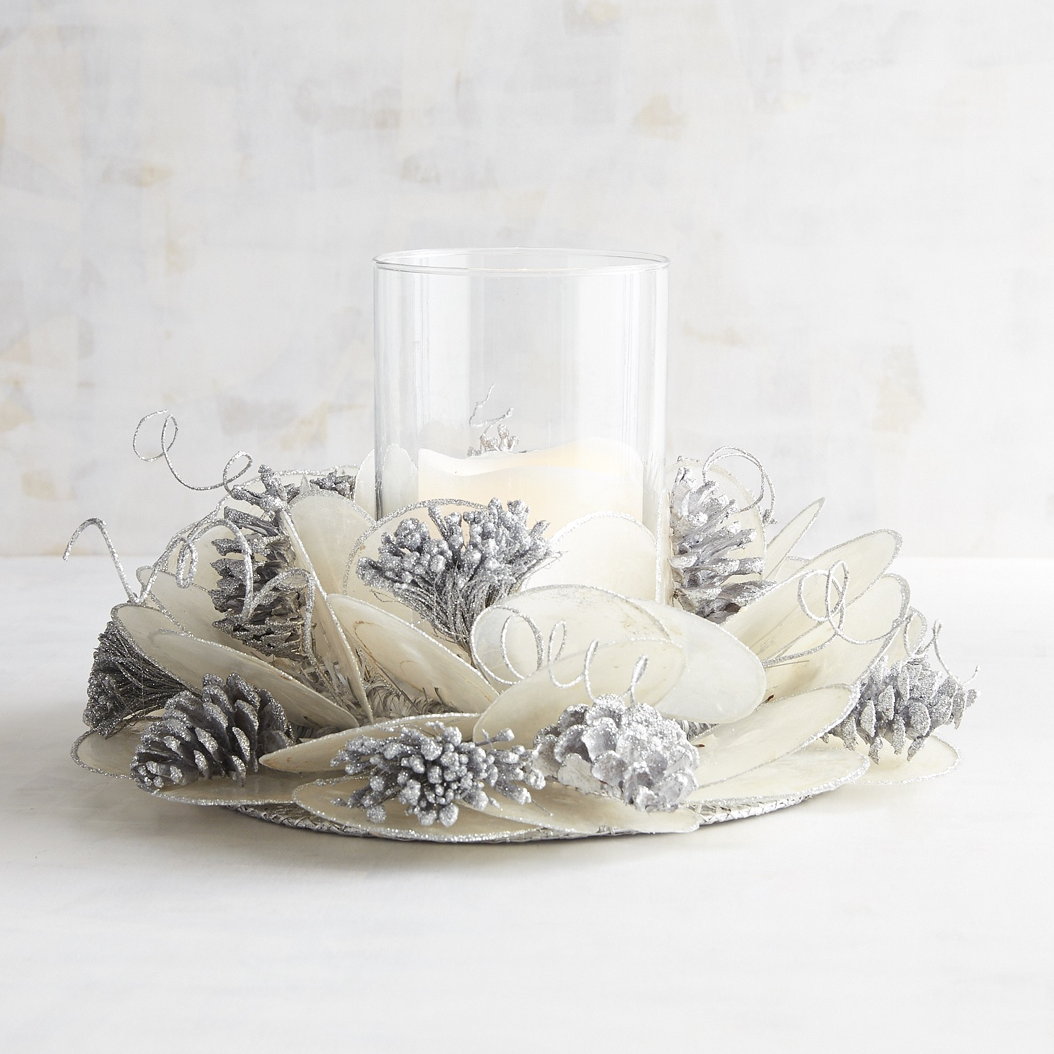 Silver & White Capiz Hurricane Candle Holder