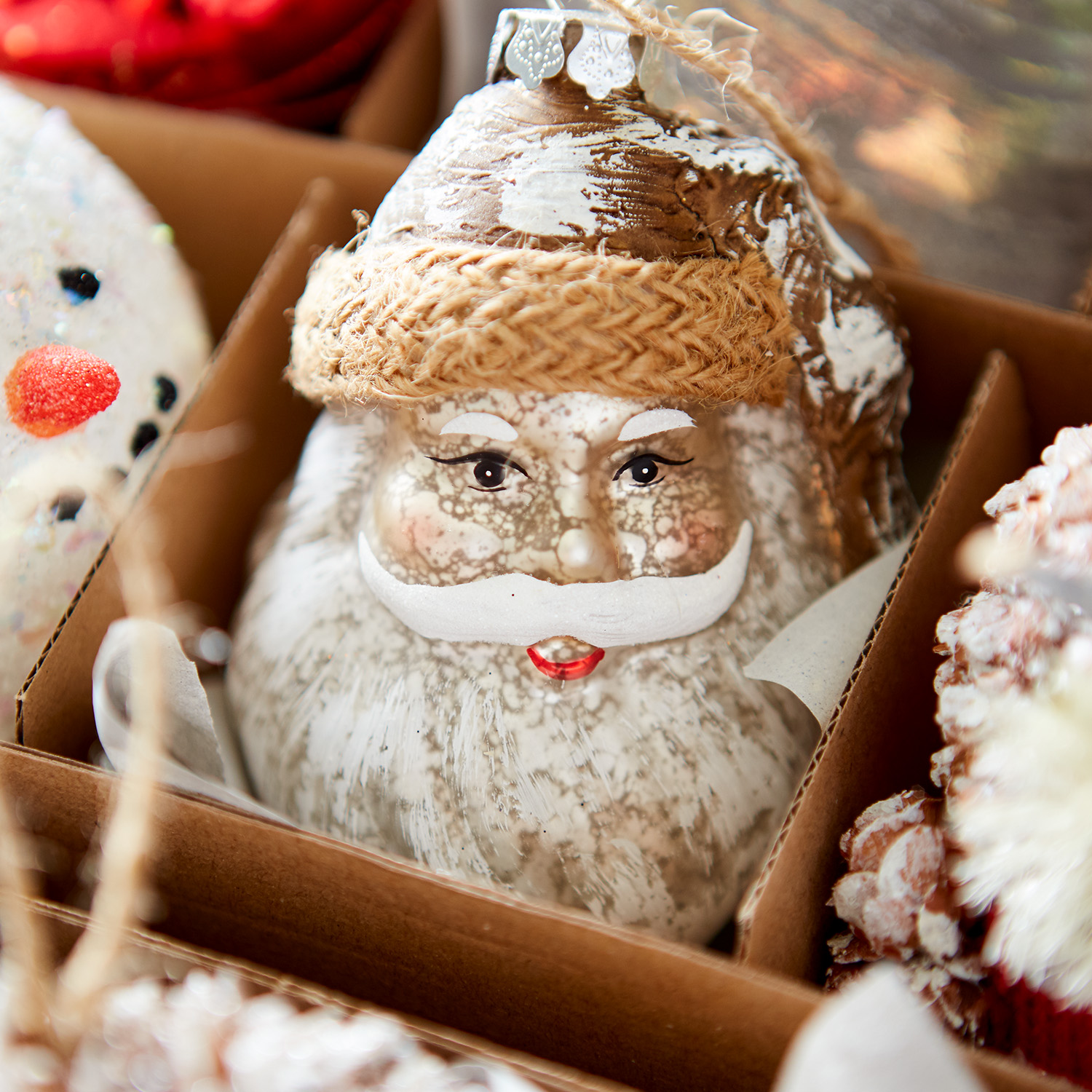 Rustic Santa Claus Face Ornament