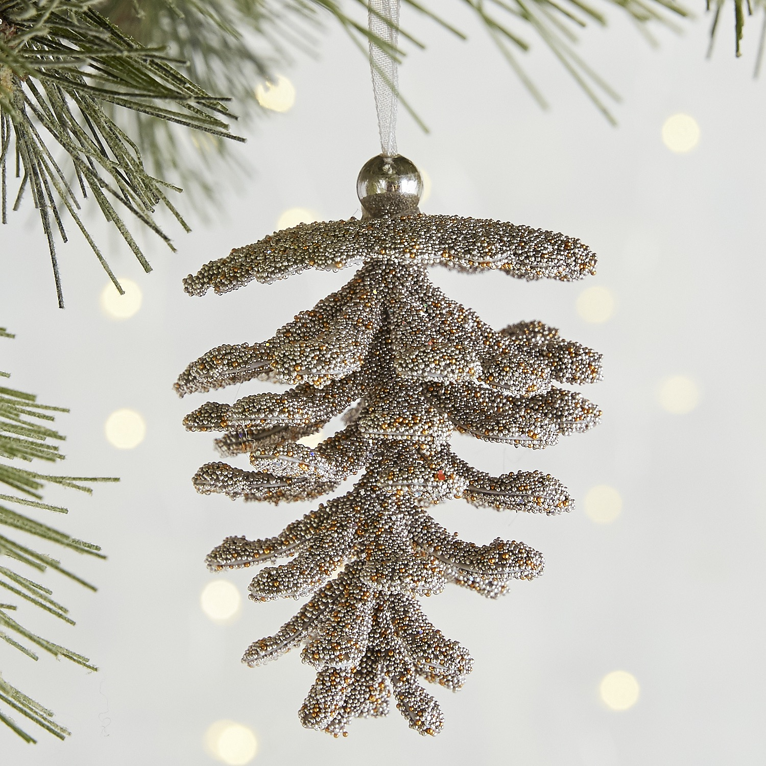 Silver Beaded Pinecone Ornament