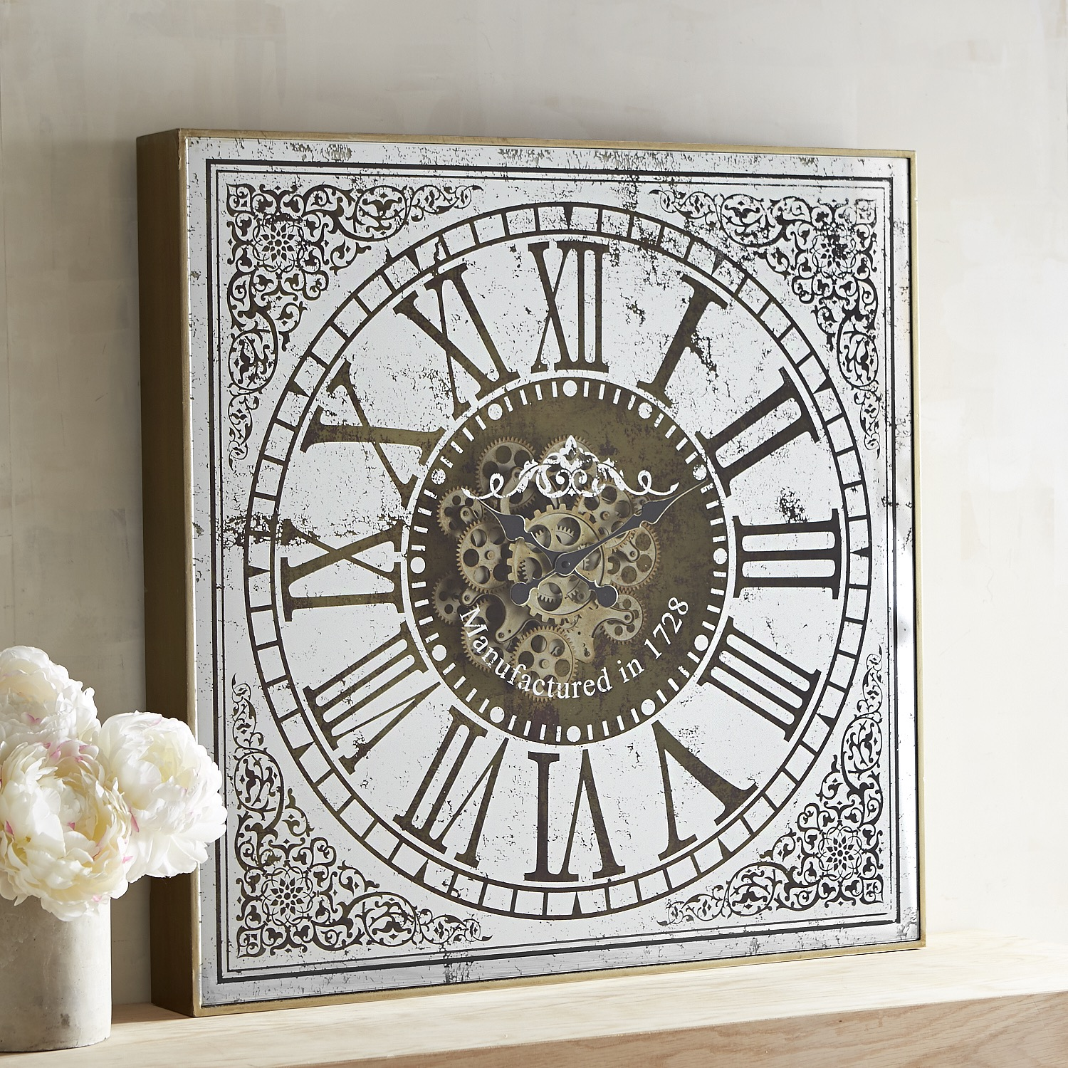 Antiqued Mirrored Wall Clock