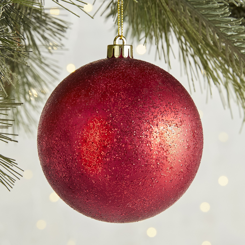 Red Glitter Ball Ornament