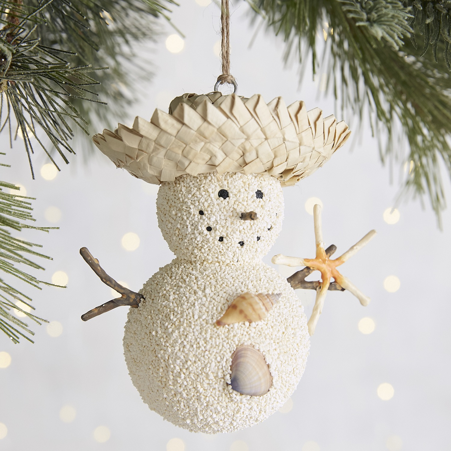 variation thumbnail of Straw Hat Sand Snowman Ornament