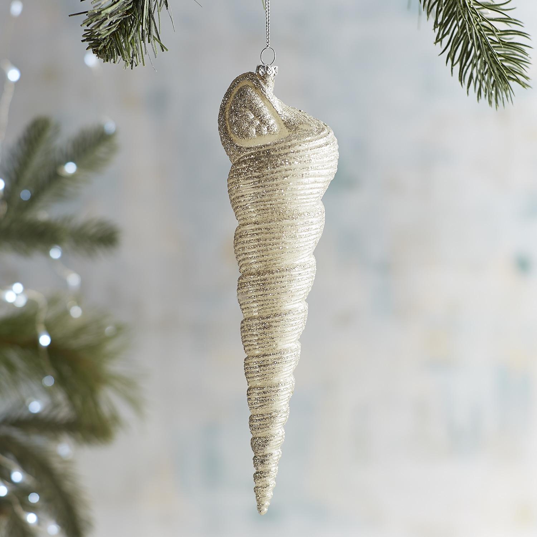 Glitter Shell Drop Ornament